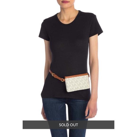 Michael Kors MK Monogram Belt Bag In Cream/Brown